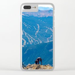 Dog Gone Climbing 2 // High above Copper Mountain Ski Resort in Colorado Landscape Photograph Clear iPhone Case