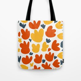 Heart Flowers Yellow Orange Blue Abstract Art Pattern Tote Bag