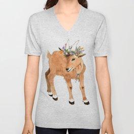 Kid Goat with Flowers Unisex V-Neck