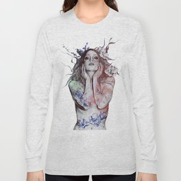 The Withering Spring: Wine (nude tattooed girl with flowers) Long Sleeve T-shirt