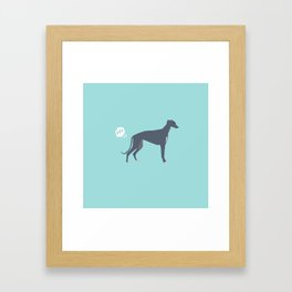 Greyhound farting dog cute funny dog gifts pure breed dogs Framed Art Print