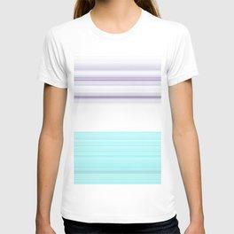 Romantic Pastel Teal white Purple Stripes T-shirt