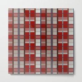 Retro red, blue, white and orange plaid pattern Metal Print