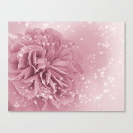 Light Pink Rose with hearts #1 #floral #art #society6 Canvas Print