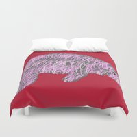 manatee Duvet Covers featuring Pink Manatee by Whimsy Notions Designs