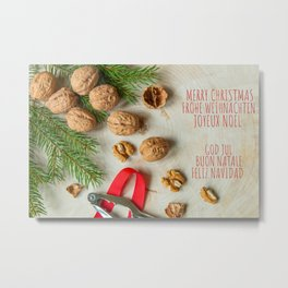 Christmas card with walnuts  Metal Print