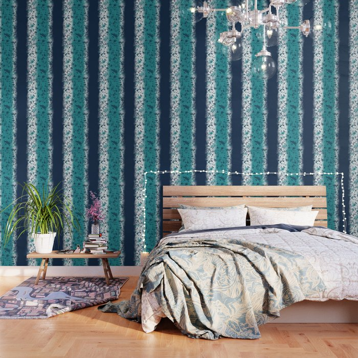 Messy Stripes in Turquoise and Navy Blue Wallpaper by fischerfinearts
