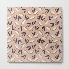 Echinacea pattern - dusty rose and white palette  Metal Print