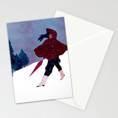 walking on snow Stationery Cards