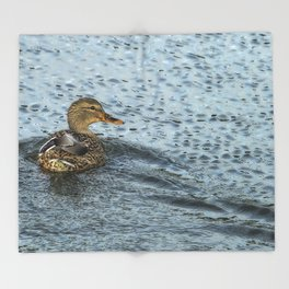 Mallard in the Rain Throw Blanket