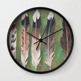 Killdeer feathers green rust background Wall Clock
