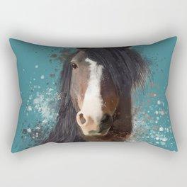 Black Brown Horse Artwork Rectangular Pillow