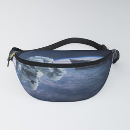 Astronaut in outer space through the porthole Fanny Pack