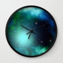 Beautiful Green Nebula filled with Stars Wall Clock