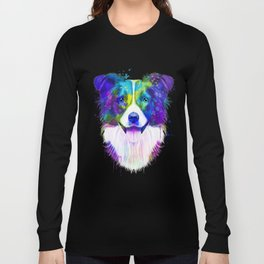 Border Collie watercolor, Watercolor Border Collie, Watercolor dog, Border Collie portrait Long Sleeve T-shirt