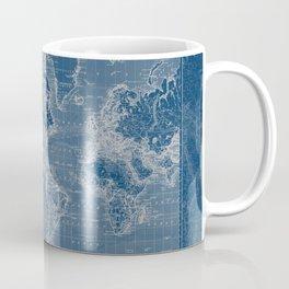 Dark Blue World Map Coffee Mug