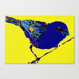 Madagascar Fody - Blue/Neon Yellow Pop Art Canvas Print
