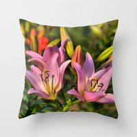 lily Throw Pillows featuring lily by Karl-Heinz Lüpke