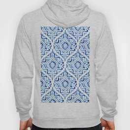 Vintage blue and white ornament. Damask watercolor hand painted illustration Hoody