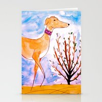 greyhound Stationery Cards featuring Greyhound by Caballos of Colour