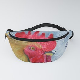 Humm and Peck Rooster Hummingbird Painting Fanny Pack