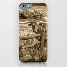 Texas Longhorn Steer by an Old Wooden Fence in Sepia Tone iPhone Case