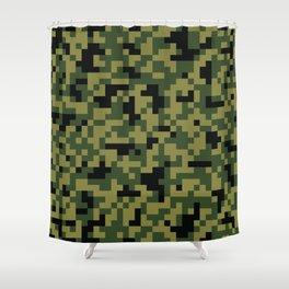 Digital Green Camouflage Pattern Shower Curtain