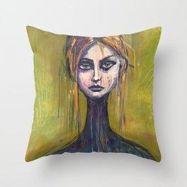WOMAN ON GREEN Throw Pillow