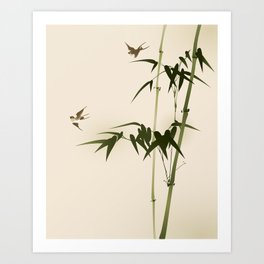 Oriental style bamboo branches 001 Art Print