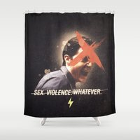 lynch Shower Curtains featuring Black Mirror | Dale Cooper Collage by Julien Ulvoas