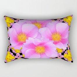 Cerise Pink Roses Black-Gold Floral Pattern Art Rectangular Pillow