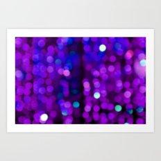 Glitter, Purple Disco Fever, happy new year, Sparkle, blue home decor, art, dots, point, glow Art Print