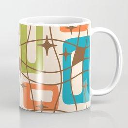 Mid Century Modern Cosmic Squares Pattern 321 Orange Blue and Green Coffee Mug