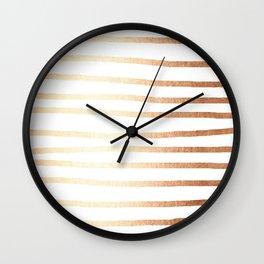Simply Drawn Stripes Deep Bronze Amber Wall Clock
