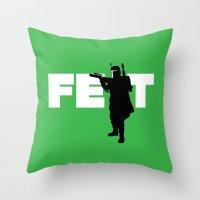 boba fett Throw Pillows featuring Boba Fett by Vector Vectoria