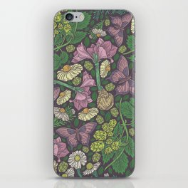 Pink hyacinth with chamomile and green hop on dark background iPhone Skin