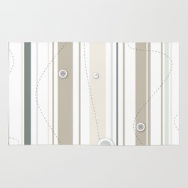 sewing lines and buttons  - grey and beige Rug