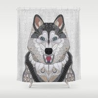 husky Shower Curtains featuring Happy Husky by ArtLovePassion