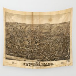 Aerial View of Newton, Massachusetts (1878) Wall Tapestry