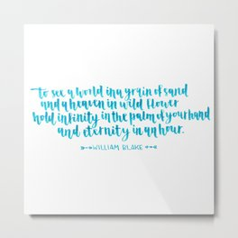 William Blake blue quote Calligraphy Metal Print