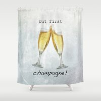 champagne Shower Curtains featuring Champagne! by mJdesign