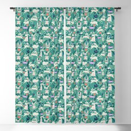 Don't Be Late Bunnies - Aqua Blackout Curtain
