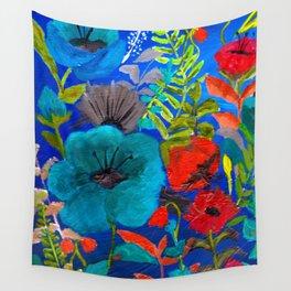 Blue Garden Wall Tapestry