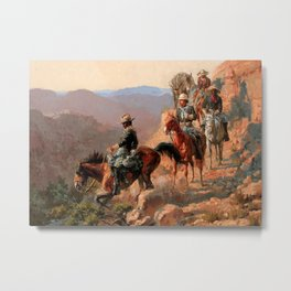 """Frederick Remington Western Art """"With the 10th Cavalry"""" Metal Print"""