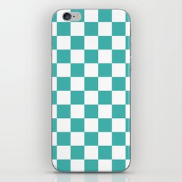 Checkered - White and Verdigris iPhone Skin
