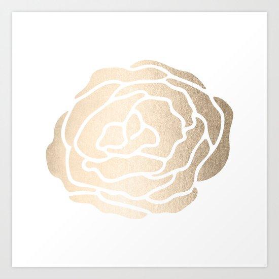 Rose White Gold Sands on White Art Print