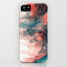 Watercolor dark green & red, abstract texture Slim Case iPhone (5, 5s)