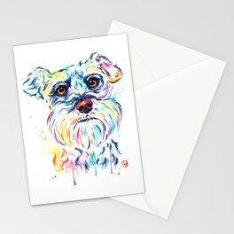 Schnauzer Watercolor Pet Portrait Painting Stationery Cards