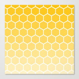 Bright yellow gradient honey comb pattern Canvas Print