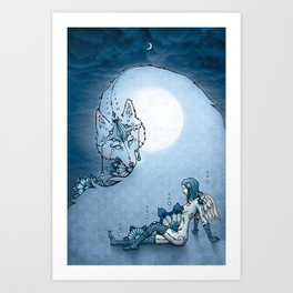 Juliana & The Wolf Spirit Art Print